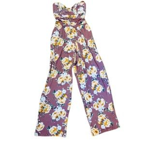 Band of Gypsies Floral Wide Leg Jumpsuit